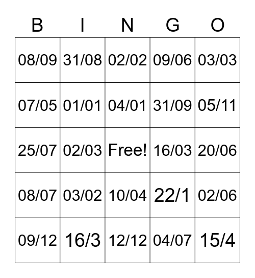 Days of the Month Bingo Card