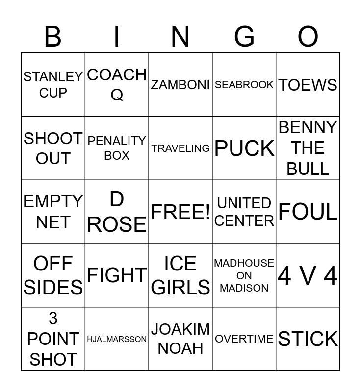 BULLS AND BLACKHAWKS Bingo Card