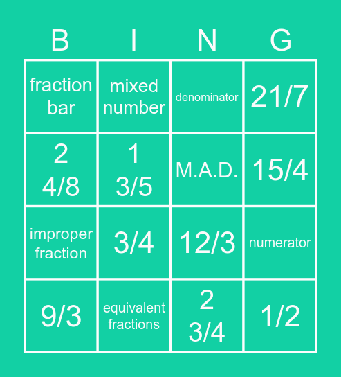 Fractions Bingo Card
