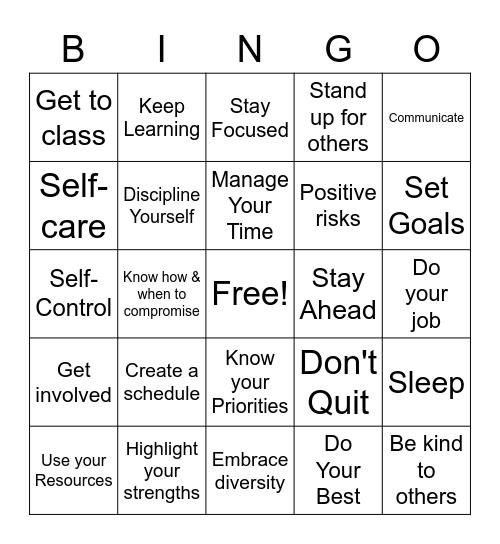 Keys to Success Bingo Card