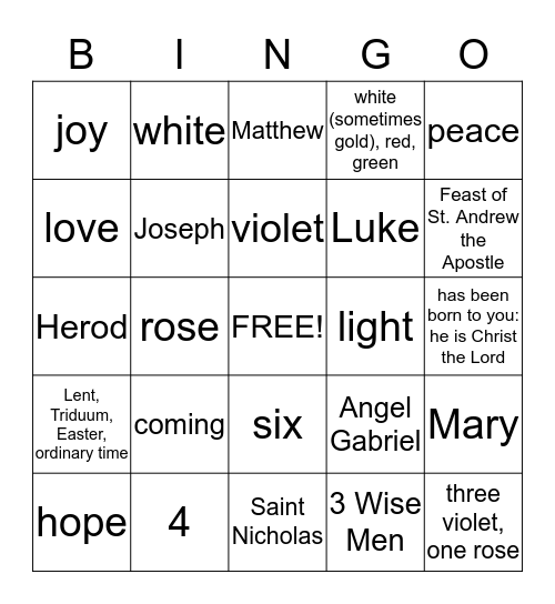 Liturgical Year and Advent Bingo Card