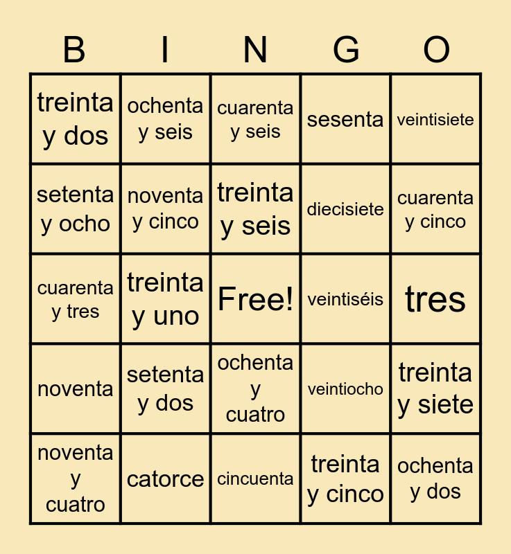 Numeros Bingo Card