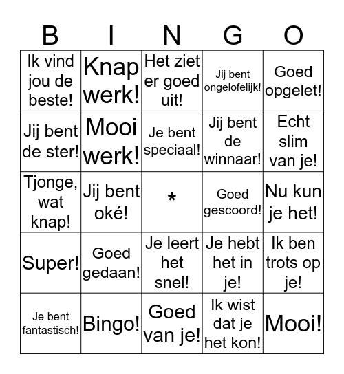 Complimenten Bingo Card