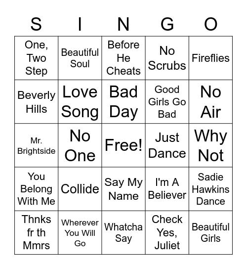 Cru 2000's Singo Bingo Card