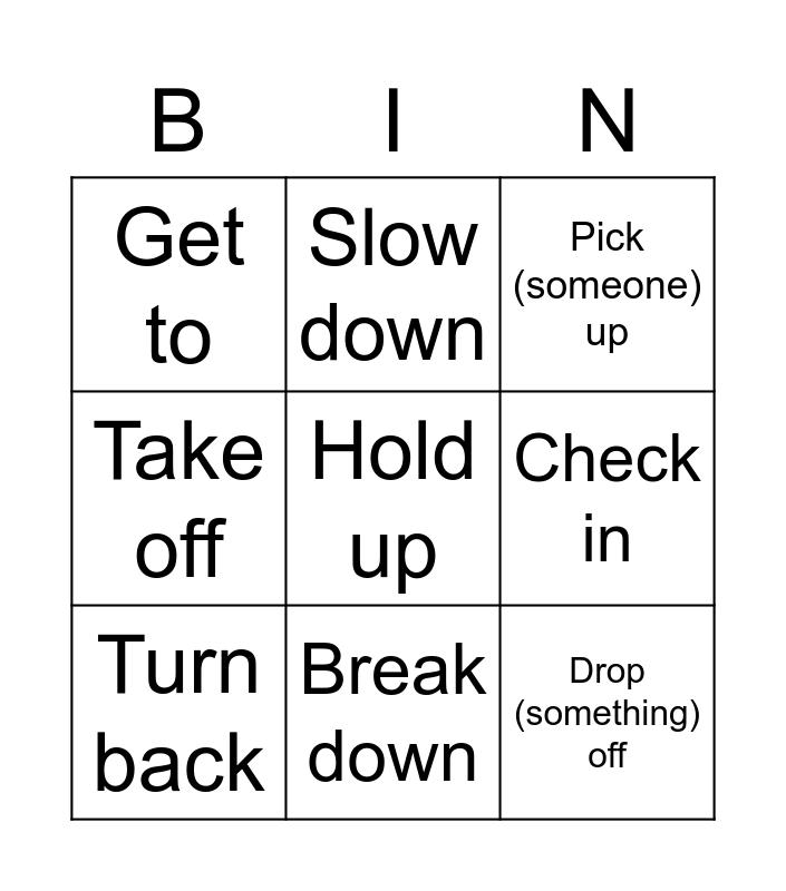 Transport related phrasal verbs Bingo Card