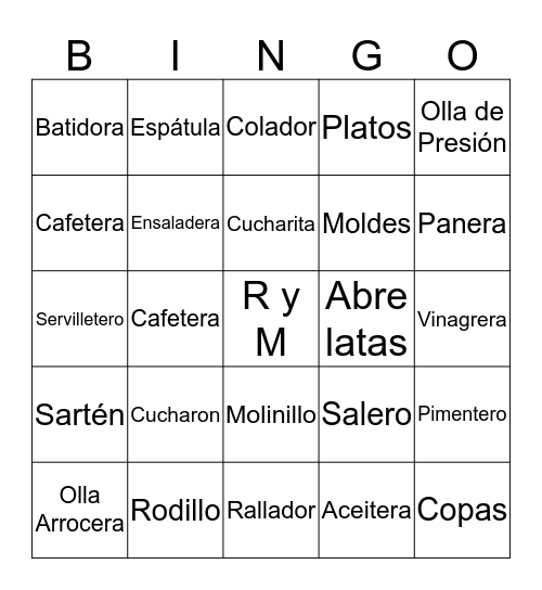 Té de Cocina -Rolando y Marilyn Bingo Card