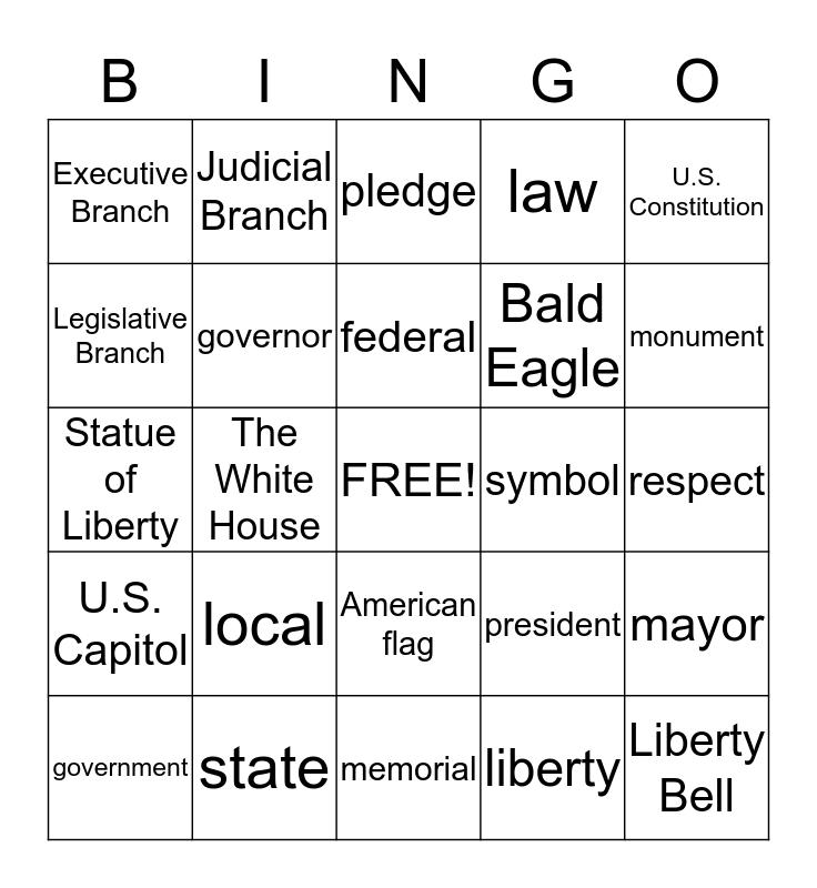 United States Symbols and Government Bingo Card