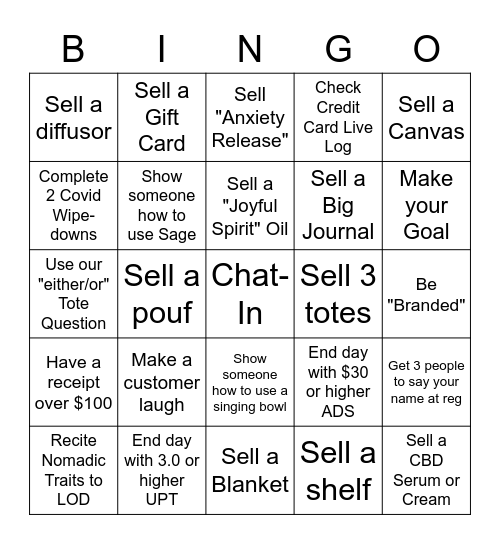 Bingo 10/19-10/25 Bingo Card