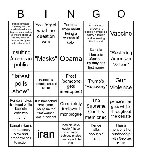 VP Debate #2 Bingo Card