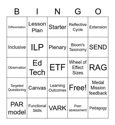 PGCE Bingo! Bingo Card