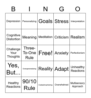 The Power of Reframing Bingo Card