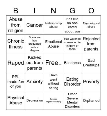 Childhood Trauma Bingo Card