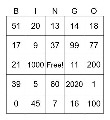 Numeros del 1-100 Bingo Card