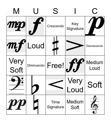Dynamics and Other Musical Whatnots Bingo Card