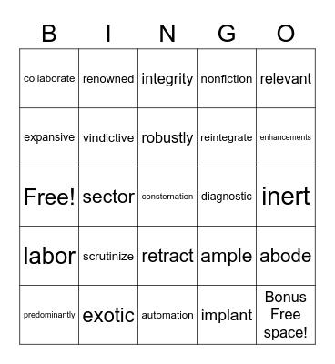 Unit 1- vocab. Bingo Card