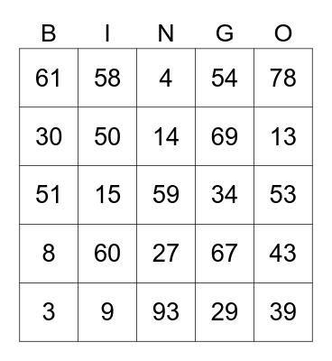 NUMBERS 1 - 100 Bingo Card