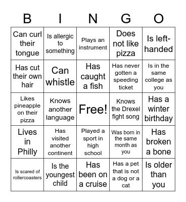 Cru Bingo Card
