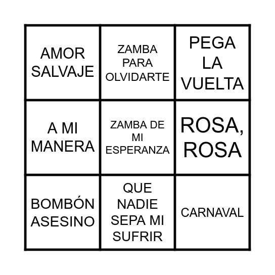 BINGO MUSICAL Bingo Card