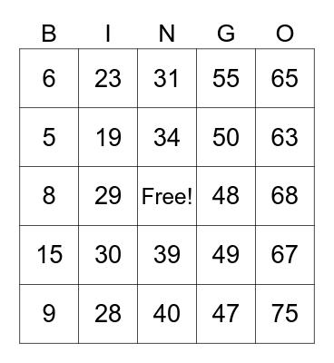 Jerlyn Bingo Card