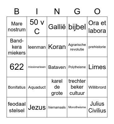 Tijdvakken 1-3 Bingo Card