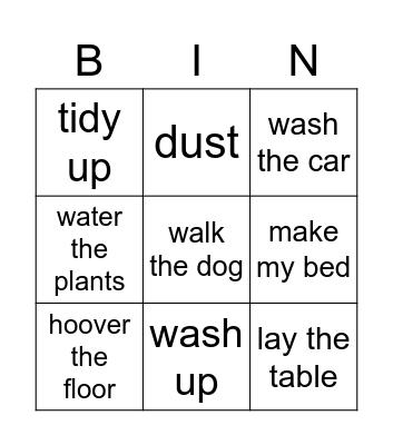 Chores bingo Card