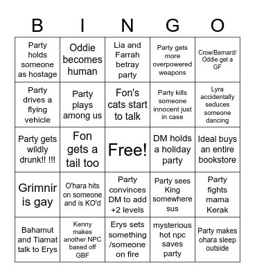 Lyra Bingodingo Bingo Card