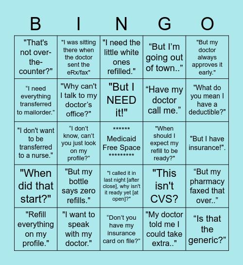 Telepharmacy Bingo Card