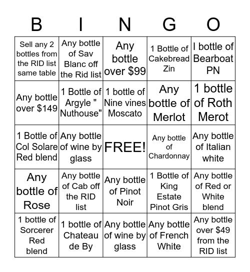 Wine Bingo Card