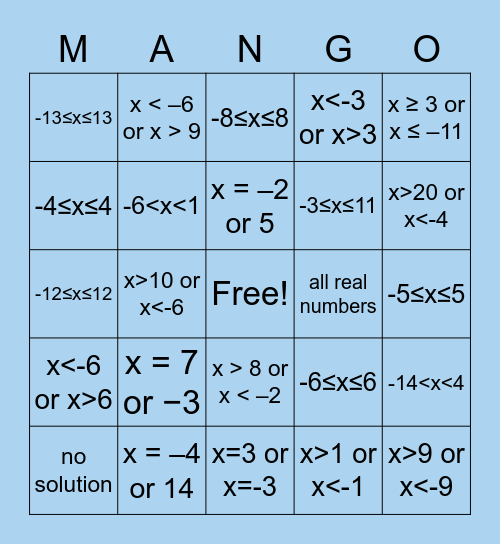 Absolute Value Bingo Card