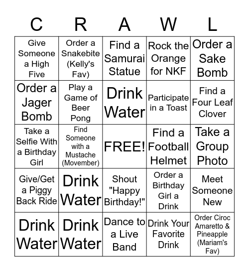 Kelly and Mariam's Birthday Bar Bingo Card