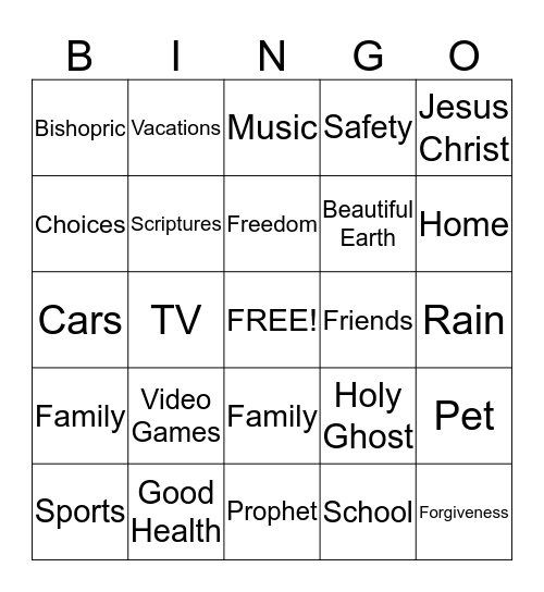Thankful Things to Pray For Bingo Card