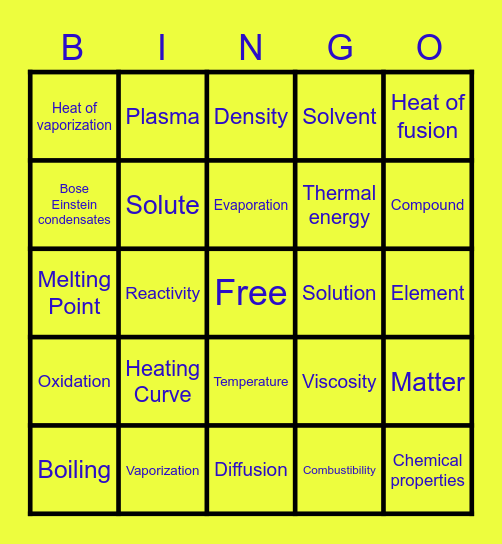 Matter Vocabulary Bingo Card
