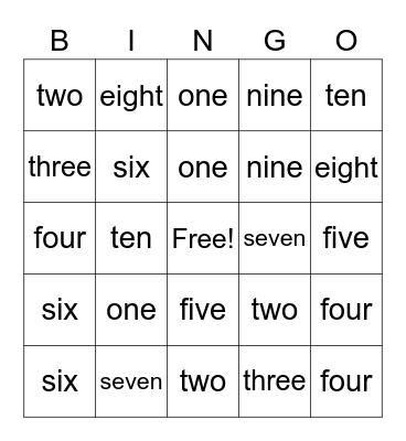 Number Bingo 1-10 Bingo Card