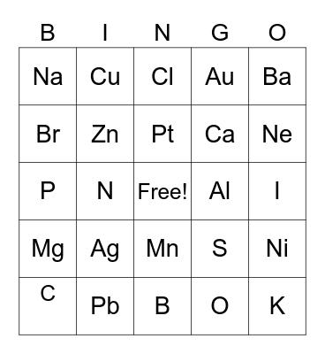 Periodic Bingo Card
