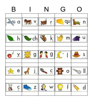 Bingo de Sonidos Iniciales Bingo Card
