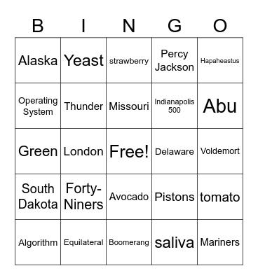 Bingo Bedlam #2 Bingo Card