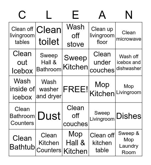 Housework Competition Bingo Card