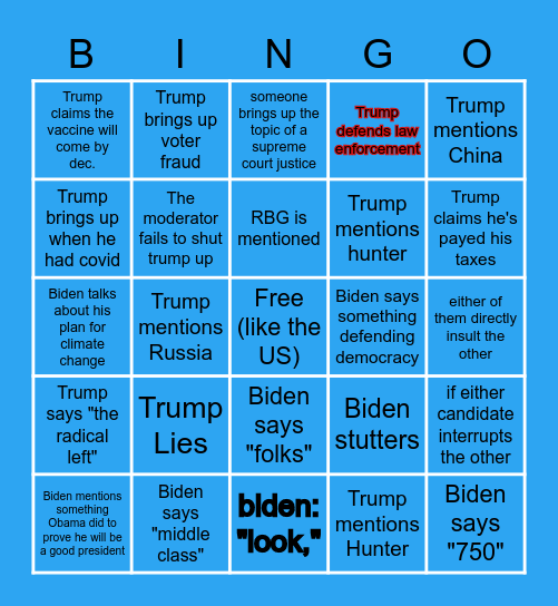 2020 Presidential Debate Bingo Card