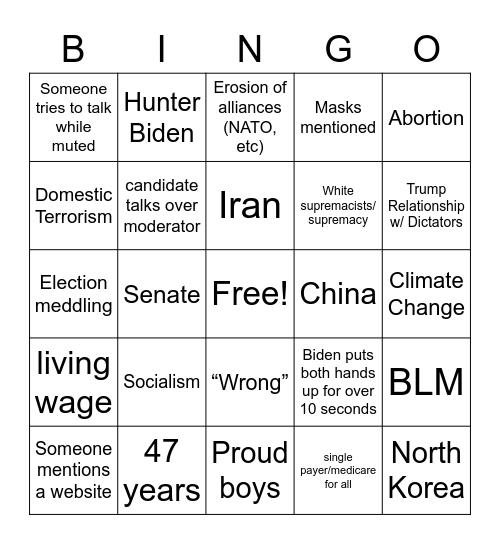 Karen Cult Trump Vs. Biden Final Presidential Debates 2020 Bingo Card