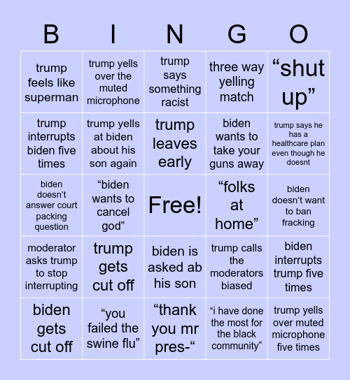 presidential debate xox Bingo Card