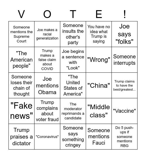 Presidential Debate Sanity Game Bingo Card