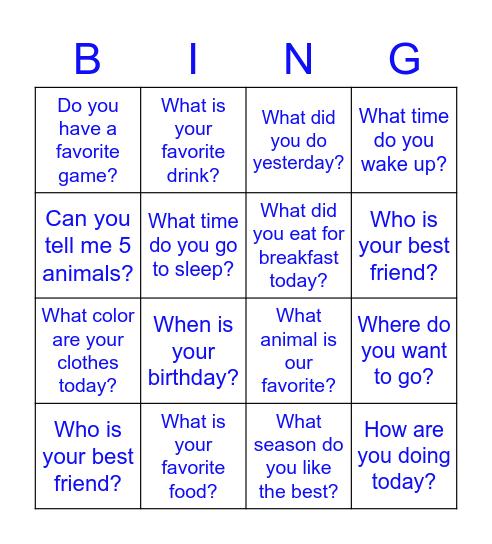 Hello! Bingo Card