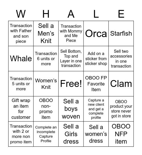 Very Marry WHALE Bingo Card
