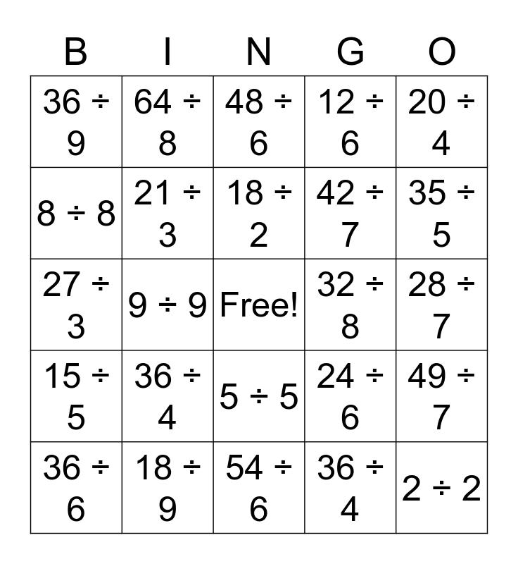 Division BINGO! Bingo Card