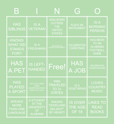 Cultural Destructiveness Bingo Card