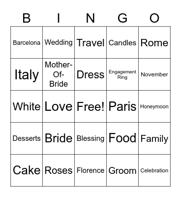 Christina's Bridal Shower Bingo Card