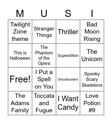 Halloween Music Bingo Card