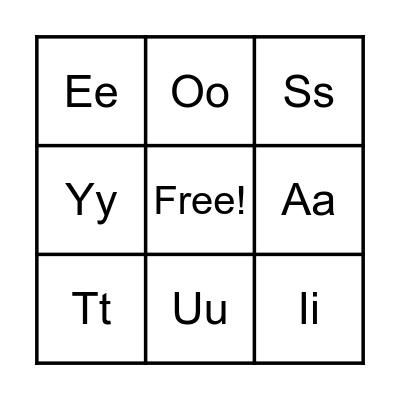 Alphabet Bingo Card