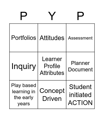 Enhanced PYP BINGO Team Builder Bingo Card