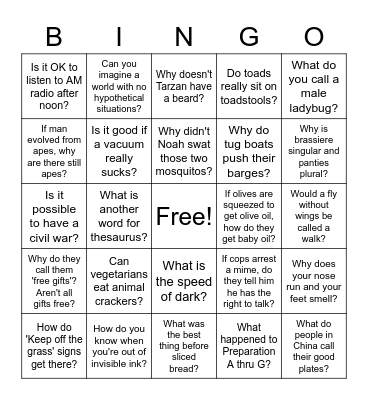 Did you ever wonder? Bingo Card